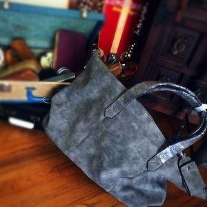 Grey faux suede tote bag